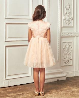 粉橘色带钻蕾丝网纱花朵连衣裙公主裙
