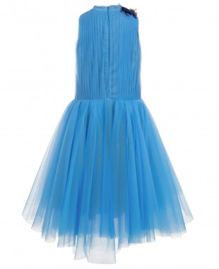 蓝色网纱长裙无袖婚礼花童裙