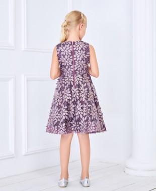 紫色金闪羽毛蕾丝公主短裙礼服裙