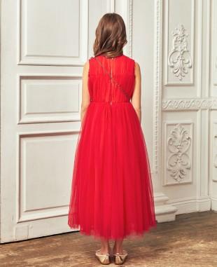 红色网纱金色钉珠细节无袖连衣长裙公主裙