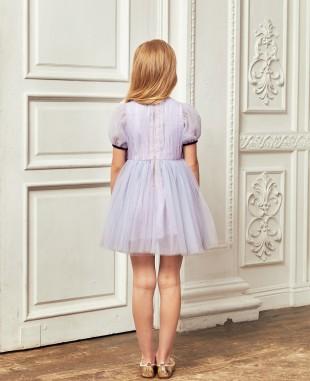 浅紫色网纱泡泡袖钉珠细节短裙公主裙