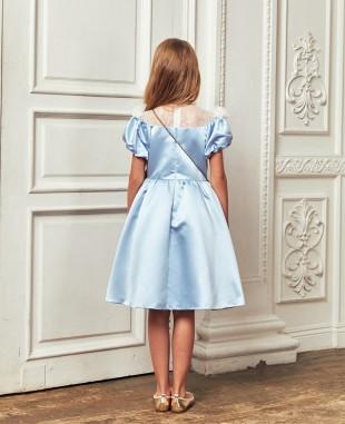淡蓝色缎面与蕾丝拼接短袖连衣裙公主裙