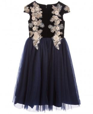 深蓝色蕾丝裙长裙女童晚礼服