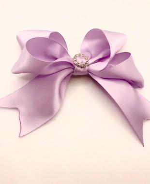 紫色缎面蝴蝶结钻扣夹子