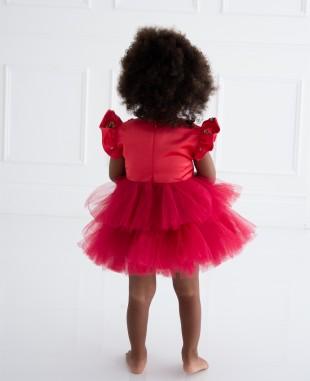 红色缎面小飞袖网纱婴儿连衣裙公主裙