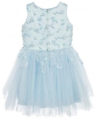 蓝色无袖连衣裙晚礼服