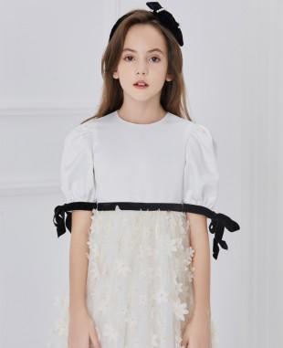 白色缎面花朵网纱连衣裙公主裙