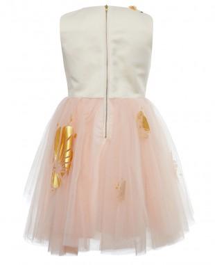淡粉色网纱烫金无袖短裙公主裙