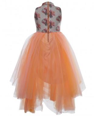 橙色贝壳层叠式薄纱连衣裙无袖长裙