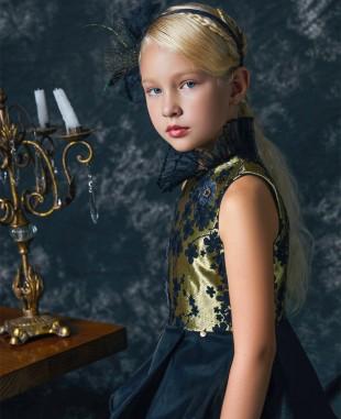 黑金提花高领无袖礼服长裙公主裙