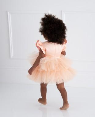 橘粉色花朵细节小飞袖婴儿礼服裙公主裙
