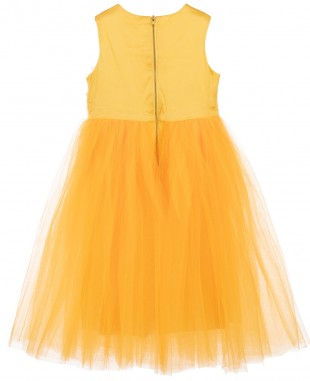 橙色无袖薄纱裙刺绣裙