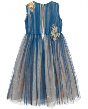蓝色蕾丝薄纱裙正式礼服