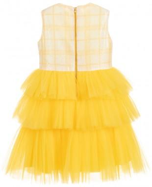 白色和黄色多层薄纱裙无袖亮片舞会裙