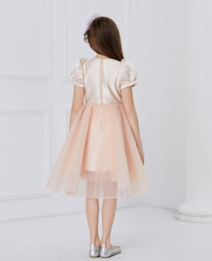 杏粉色缎面蕾丝刺绣短袖网纱连衣裙公主裙