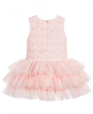 粉色无袖婚礼蕾丝裙花童裙