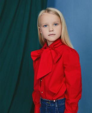 红色大蝴蝶结棉衬衣