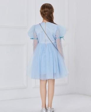蓝色网纱长袖蕾丝刺绣公主短裙连衣裙