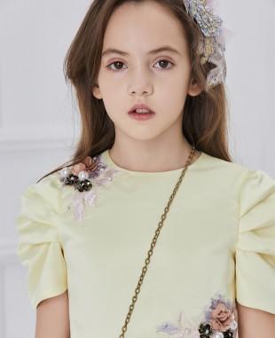 黄色缎面粉色网纱钉珠短袖连衣裙公主裙