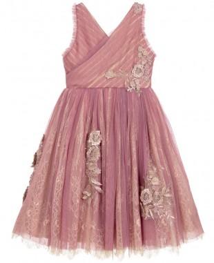 淡紫色蕾丝裙无袖优雅婚礼礼服