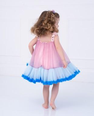 粉色蓝色网纱拼接吊带婴儿连衣裙公主裙