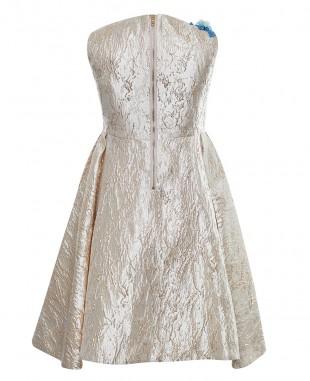 金色提花蓝色蕾丝细节无袖裙公主裙