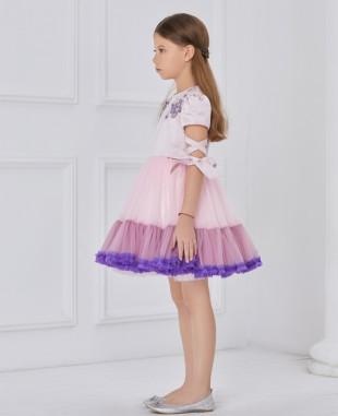 粉色缎面紫粉色网纱拼接系带连衣裙公主裙