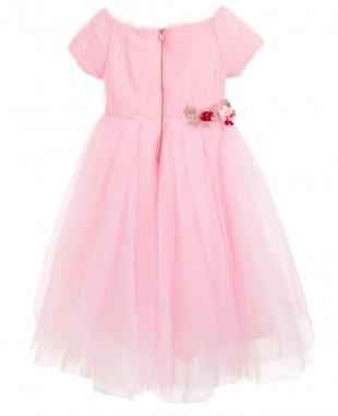 花朵钉珠粉色网纱裙无袖优雅婚礼花童裙
