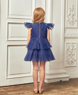 深蓝色网纱压褶钉珠细节短礼服裙公主裙