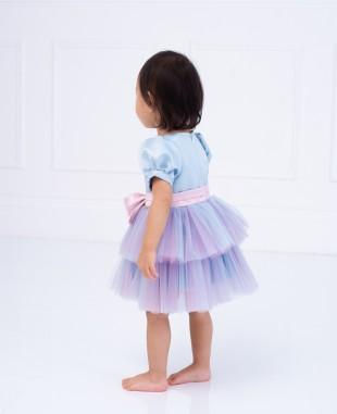 淡蓝色缎面淡紫色网纱蝴蝶结婴儿连衣裙公主裙