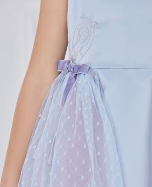 淡蓝色缎面紫色网纱无袖连衣裙公主裙