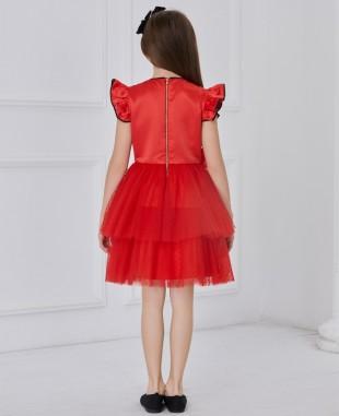 红色缎面小飞袖波点网纱连衣裙公主裙