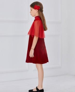 红色金丝绒波点网纱袖连衣裙