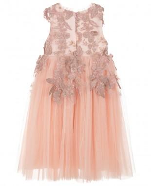 香槟粉花朵刺绣裙连衣裙花童裙