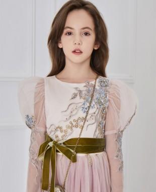 粉色长袖蕾丝刺绣细节连衣裙公主裙