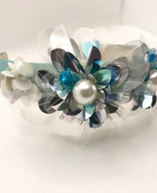 绿色珠片花朵珍珠发箍