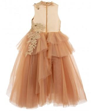 金色蕾丝网纱无袖连衣裙舞会礼服
