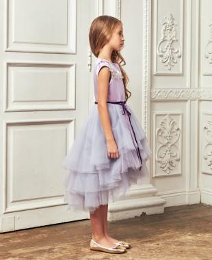 淡紫色缎面钉珠细节多层网纱裙礼服裙