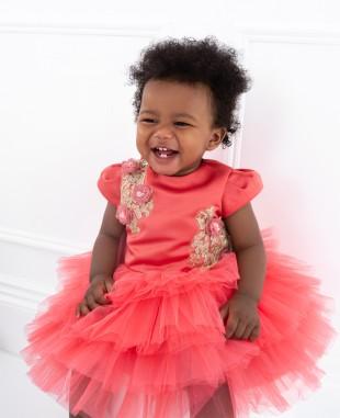 红色蕾丝网纱裙婴儿礼服裙