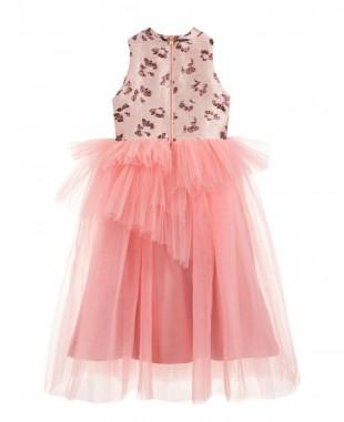 粉色薄纱公主裙提花裙