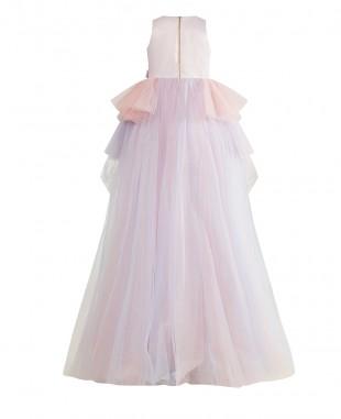 粉紫色拖尾无袖网纱连衣裙公主裙
