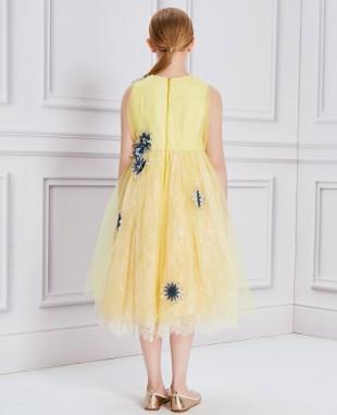 黄色蕾丝花朵网纱礼服裙公主裙