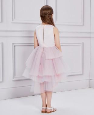 粉紫色短款花朵钉珠礼服裙公主裙