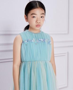 水蓝色网纱无袖连衣裙公主裙