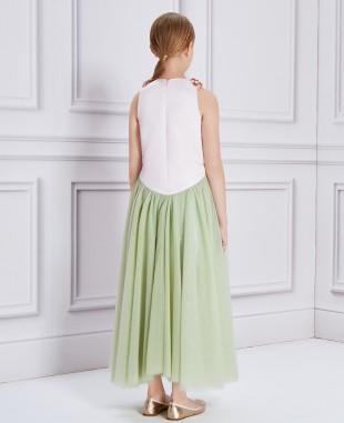 粉绿色钉珠无袖长款连衣裙公主裙
