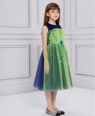 午夜蓝配亮绿色扇形网纱钉珠连衣裙公主裙