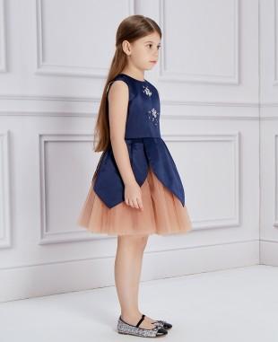 深蓝色缎面玫瑰金网纱无袖连衣裙公主裙