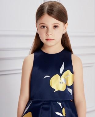 深蓝色金银色印花短款礼服裙公主裙