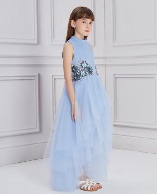 淡蓝色蕾丝花长款网纱礼服裙公主裙