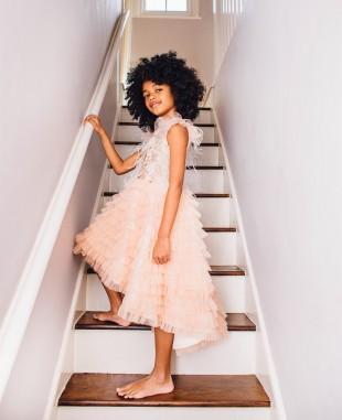 奶油杏色羽毛钉珠裙无袖蕾丝裙网纱裙